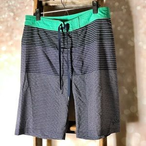 Prana Green & Navy Men's Swim Board Shorts